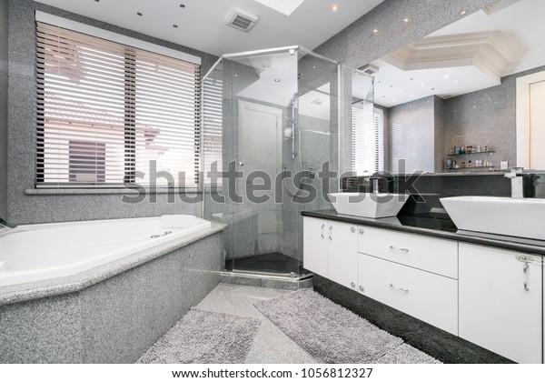 Luxurious Large Bathroom Floor Ceiling Tiling Stock Photo