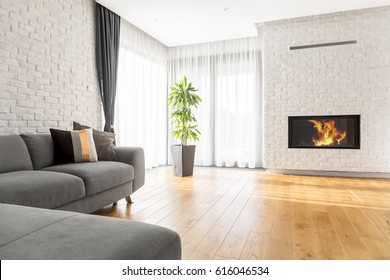 Luxurious living room with extra large sofa, fireplace and plant
