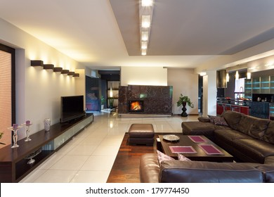 A luxurious living room with stylish furniture and a fireplace