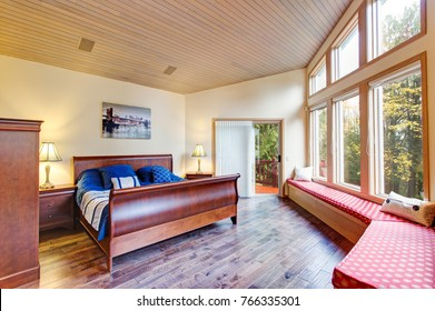 Luxurious Master Bedroom With Vaulted Ceiling Floor To Glass Windows Window Seat Lined