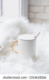 Luxurious new china coffee mug with golden handle