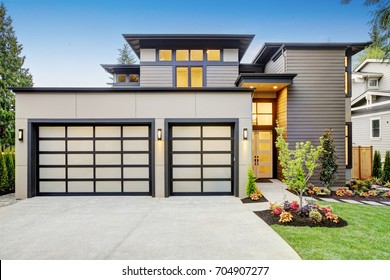 Home garage images stock photos vectors shutterstock luxurious new construction home in bellevue wa modern style home boasts two car garage solutioingenieria Images