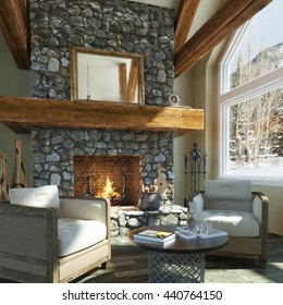Luxurious Open Floor Cabin Interior Design With Roaring Fireplace And  Winter Scenic Background. Photo Realistic