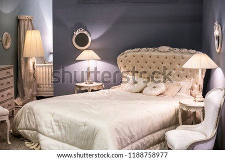 Luxurious Royal Bedroom White Expensive Furniture Stock Photo (Edit ... f8f2df21b