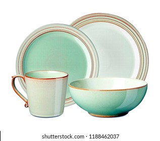 Luxurious set of dinnerware on white background.   Interior element. aqua colored dinnerware set