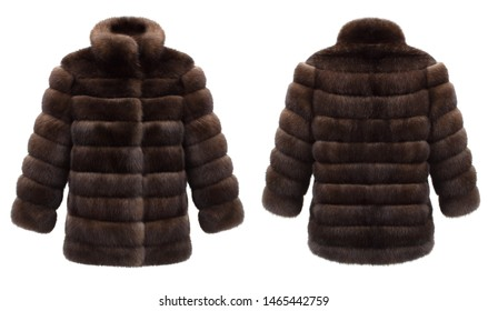 Luxurious set, women's brown short fur coat, ghost mannequin, front and back view, mockup, clipping, isolated on white background