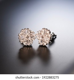 The luxurious shiny earrings made on silver.