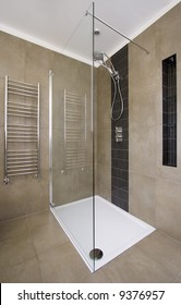Luxurious shower in contemporary home