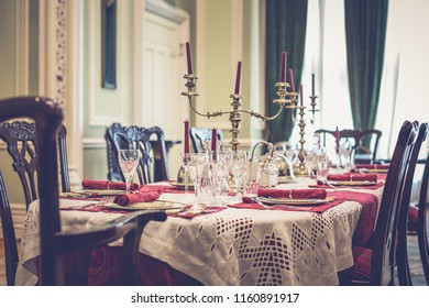 Luxurious table prepared in a luxurious castle