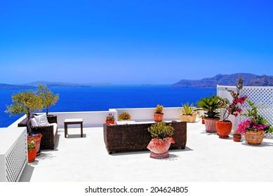 Luxurious terrace overlooking the sea on the island of Santorini, Greece
