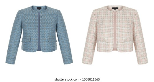 Luxurious trendy woolen classic sequined checkered female jacket with long sleeves, blue and pink clipping, ghost mannequin isolated on white background