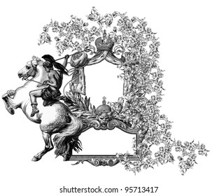 """Luxurious Victorian frame, after a engraving """"A bull fight"""" edited by The Graphic - London, circa 1878."""