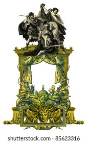 Luxurious Victorian frame with gladiators.