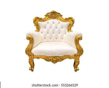 Luxurious vintage style sofa isolated on white with clipping path.