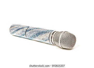 luxurious voice microphone crystals decorated on a white background