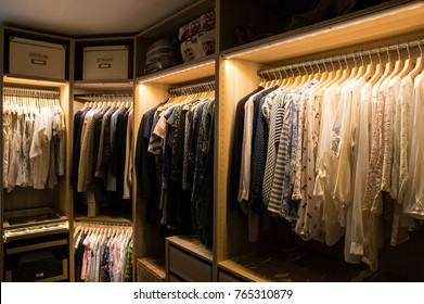 Luxurious walk in closet with lighting and jewelry display.