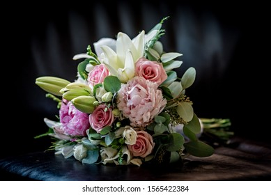 Luxurious wedding bouquet with seasonal flowers