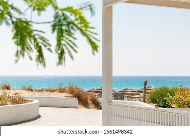 Luxurious white terrace in a tropical resort with sea views. Bright blue sky on a sunny day. Background. Space for text.