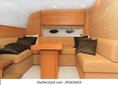 Luxurious wood furnished living room in yacht