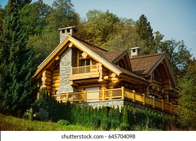 luxurious wooden log cabin