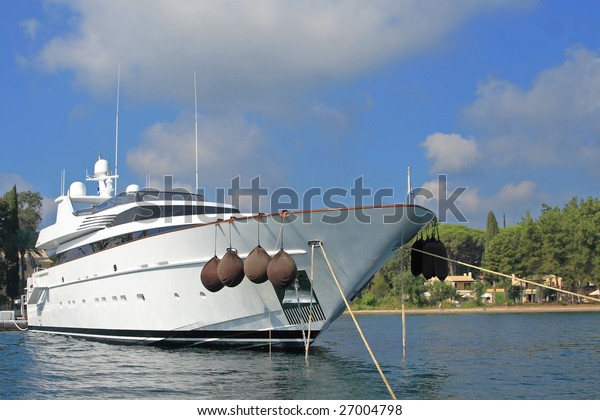 luxurious yacht moored in Greece