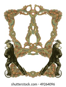 Luxuriously color illustrated old victorian frame with two man on roller skates.