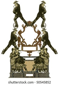 Luxuriously color illustrated old victorian frame with two woman and four man on roller skates.