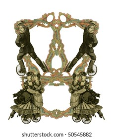 Luxuriously color illustrated old victorian frame with four woman and two man on roller skates.