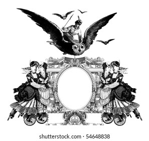 Luxuriously color illustrated old victorian frame with a girl flying to the Owl.