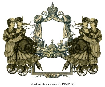 Luxuriously illustrated old victorian frame with four woman.
