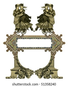 Luxuriously illustrated old victorian frame with four woman on roller skates.