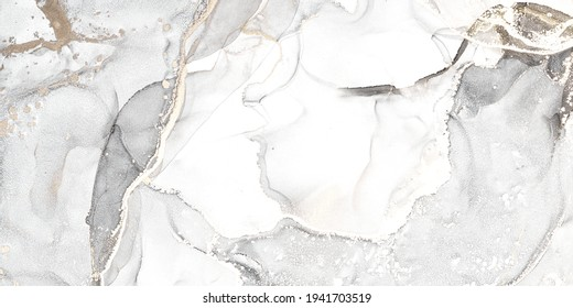 Luxury abstract fluid art painting in alcohol ink technique, mixture of black, gray and gold paints. Imitation of marble stone cut, glowing golden veins. Tender and dreamy design