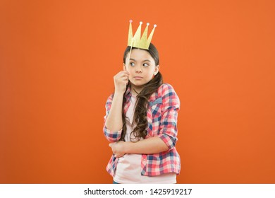 Luxury is anything that feels special. Small cute child wearing luxury prop crown on orange background. Adorable little girl with luxury and chic look. Luxury when you dress with eccentricity.