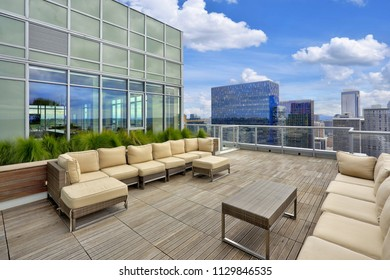 Luxury apartment building exterior with Sky lounge on roof top. Northwest, USA