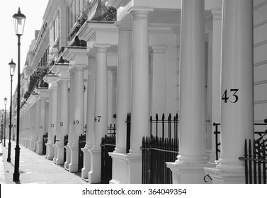 Luxury Apartment Building in London South Kensington/ houses and streets in london/ London, UK - September 28, 2008: Typical Apartments Building at West-London, Kensington and Chelsea.
