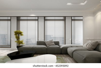 Luxury apartment living room interior with large floor to ceiling window blinds and soft gray modular sofa. Includes large green plant in pot. 3d Rendering.