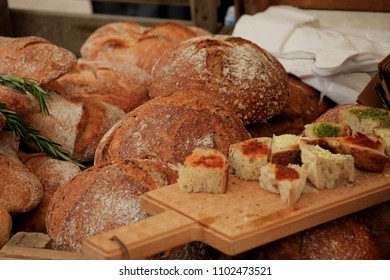 Luxury artisanal bread at a market, small pieces for tasting