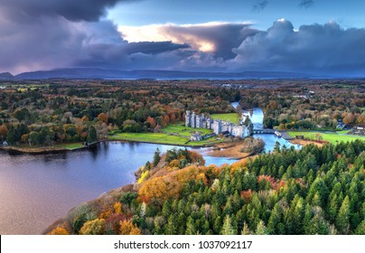 Luxury Ashford castle and gardens from above drone- Co. Mayo - Ireland