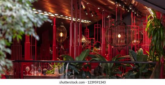 Luxury asian restaurant interior