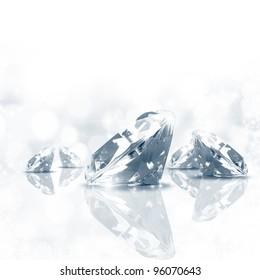 Luxury  background of diamond in blue tone