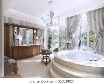 Luxury bathroom in classic style. Bathroom with Jacuzzi, shower and bathroom furniture. 3D render.