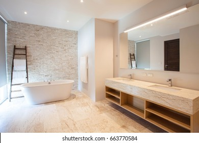 Luxury bathroom features basin, toilet bowl and bathtub home, house ,building