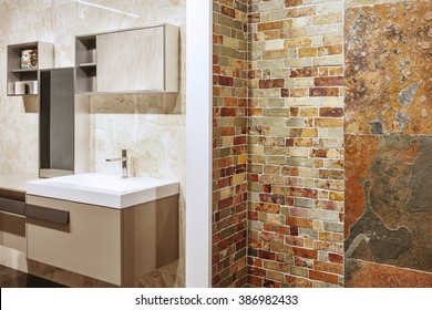 Luxury bathroom interior design. Stone wall