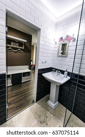 The luxury bathroom with the washbasin