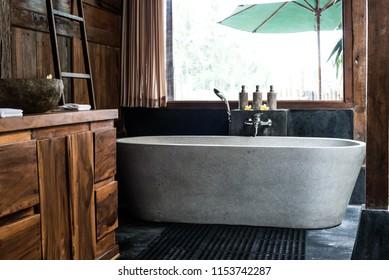 Luxury bathtub in private villa