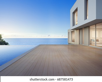 Luxury beach house with sea view swimming pool and empty terrace in modern design, Vacation home for big family - 3d rendering of residential building