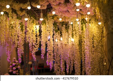 Luxury beautiful decor evening with lights for wedding