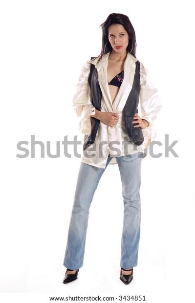 Luxury beautiful young brunette woman dressed in silken shirt