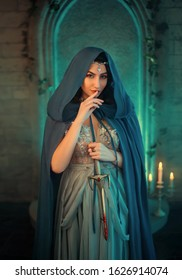 Luxury beauty elf Queen medieval royal creative clothes holds gothic dagger stained blood. Blue silk dress cloak hood silver tiara. Backdrop old retro castle room. Strong power evil scary gothic woman