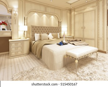 Luxury bed in a large neoclassical bedroom with decorative niche in the wall. Dressing table and stool. 3D render.